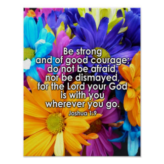 Be Strong Bible Scripture Poster