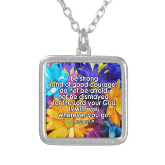 Be Strong Bible Scripture Square Pendant Necklace