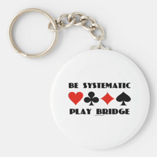 Be Systematic Play Bridge (Four Card Suits) Basic Round Button Key Ring