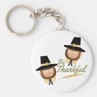 Be Thankful Basic Round Button Key Ring
