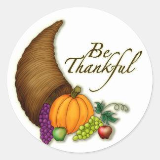 Be thankful classic round sticker