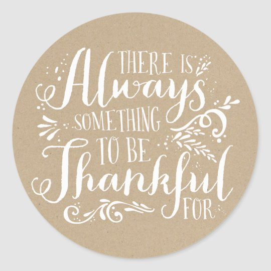Be Thankful Faux Kraft Paper Thanksgiving Sticker