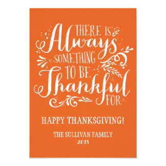 Be Thankful | Orange Thanksgiving Flat Card