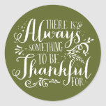 Be Thankful Script Green Thanksgiving Sticker