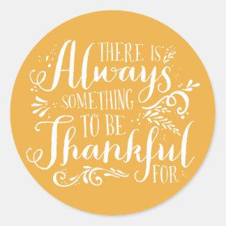 Be Thankful Script Mustard Thanksgiving Sticker