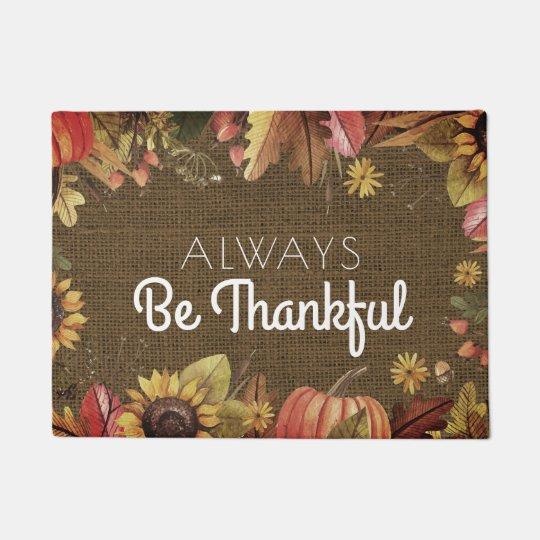 Be Thankful Thanksgiving Autumn Rustic Burlap Doormat