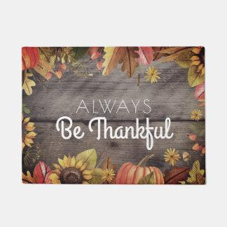 Be Thankful Thanksgiving Autumn Rustic Wood Doormat