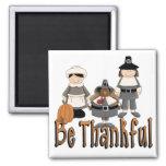 be thankful thanksgiving pilgrims fridge magnet