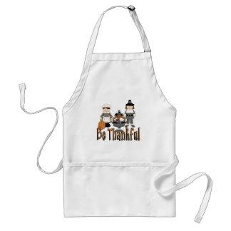 be thankful thanksgiving pilgrims standard apron
