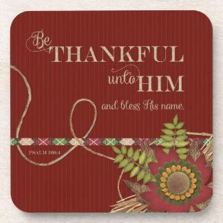 Be Thankful Unto Him Scrapbook effect Beverage Coaster