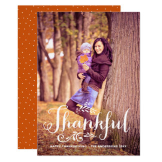 Be Thankful Whimsical Photo Happy Thanksgiving Card