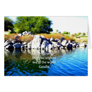 Be The Change Gandhi Wisdom Quotation Greeting Cards