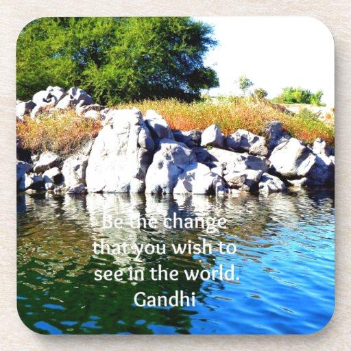 Be The Change Gandhi Wisdom Quotation Beverage Coaster