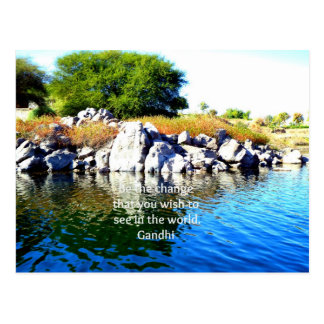 Be The Change Gandhi Wisdom Quotation Post Cards