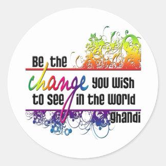 Be The Change Round Sticker