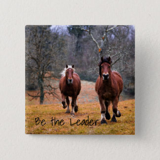Be the Leader Horses Racing 15 Cm Square Badge