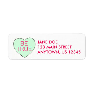BE TRUE Candy Heart Valentine's Day Address Label