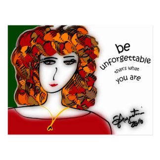 Be Unforgettable postcard - Sharon Augustin