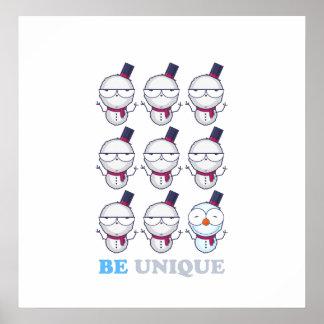 Be Unique Snowman Christmas Design Print