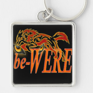 be-WERE Werewolf design Silver-Colored Square Key Ring