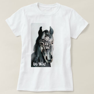 Be Wild Horse Painting Women's Basic T-Shirt