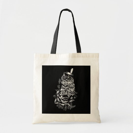 Be wise black owl with top hat illustration.