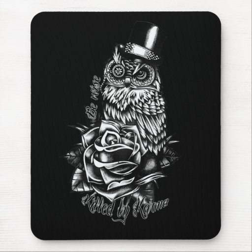 Be wise owl with top hat in black and white. mouse pad