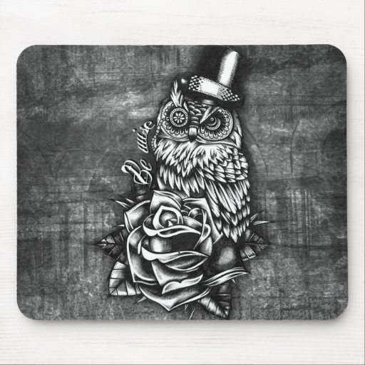 Be wise tattoo style owl artwork. mouse pads