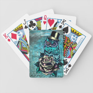 Be Wise tattoo style owl on digital Teal wood base Bicycle Playing Cards