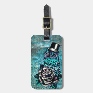 Be Wise tattoo style owl on digital Teal wood base Luggage Tag