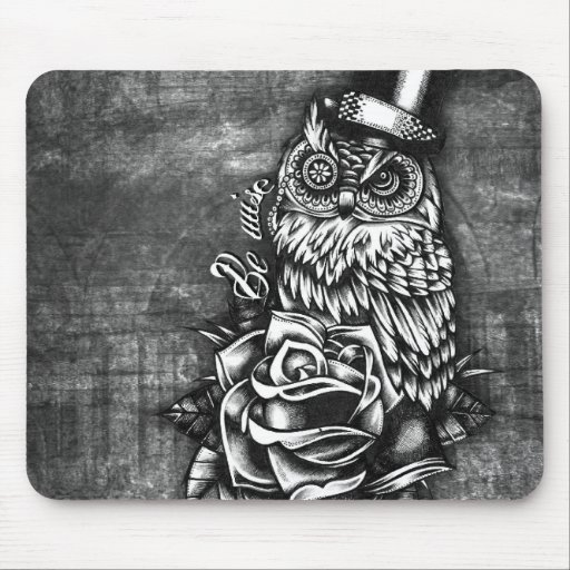 Be Wise tattoo style owl on digital wood base. Mouse Pads