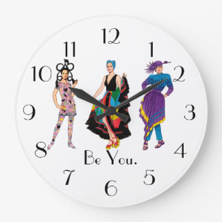 Be You. Fashion Design Fashionista Diva Wall Clocks