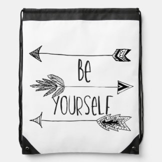 Be Yourself Arrows Drawstring Bag