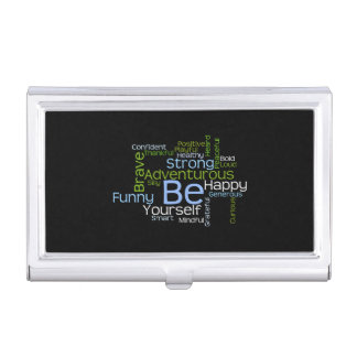 BE Yourself  Inspirational Word Cloud Business Card Holder