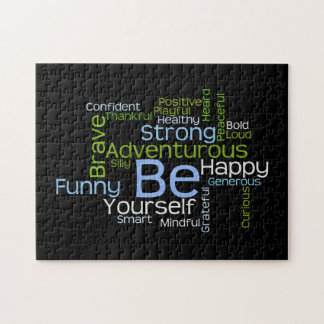 BE Yourself Inspirational Word Cloud Jigsaw Puzzle