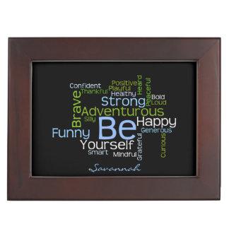 BE Yourself  Inspirational Word Cloud Keepsake Box