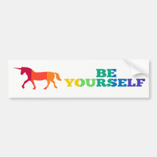 Be Yourself Rainbow Unicorn Bumper Sticker