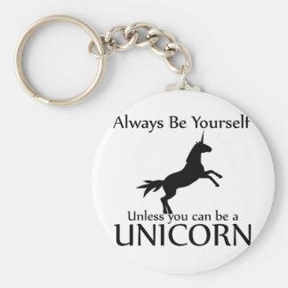 Be Yourself Unicorn Basic Round Button Key Ring