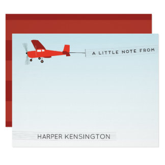 Beach Airplane Banner Personal Stationery Card