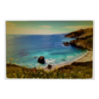 Beach and Bay, Pacific Coast Highway Poster