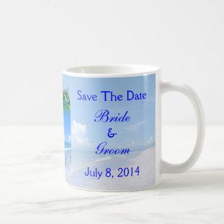 Beach And Blue Skies Wedding Save The Date Coffee Mugs