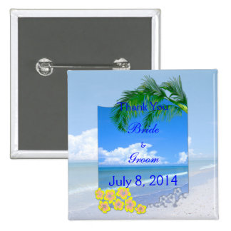 Beach And Blue Skies Wedding Thank You 15 Cm Square Badge