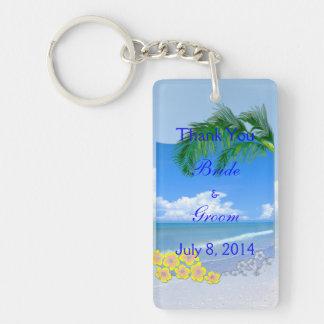 Beach And Blue Skies Wedding Thank You Key Ring