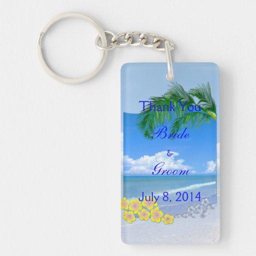Beach And Blue Skies Wedding Thank You Key Chains