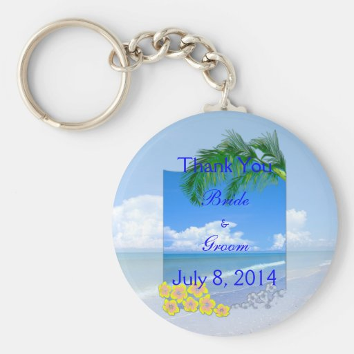 Beach And Blue Skies Wedding Thank You Keychains
