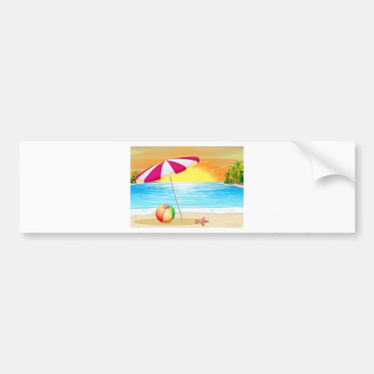 Beach and ocean bumper sticker