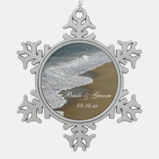Beach and Ocean Wedding Snowflake Pewter Christmas Ornament