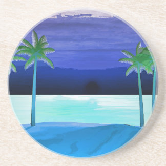 Beach and Palm Trees Drink Coaster