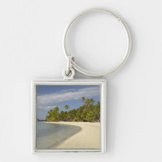 Beach and palm trees, Plantation Island Resort 2 Silver-Colored Square Key Ring