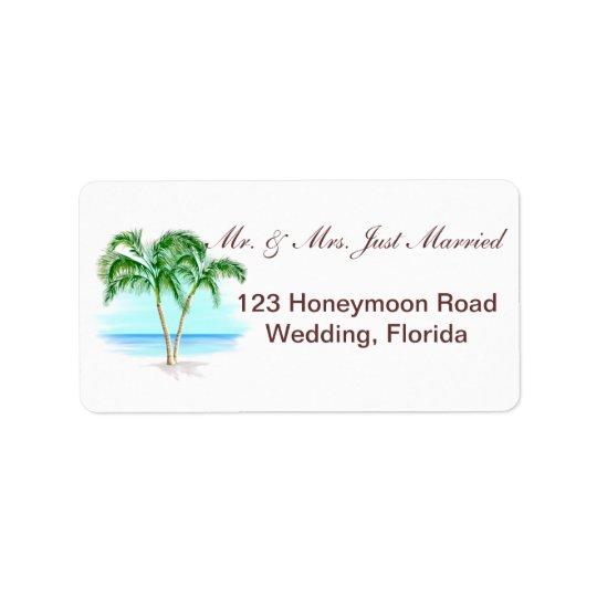 Beach And Palm Trees Wedding Address Label